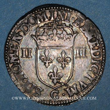 Münzen Henri III (1574-1589). 1/4 d'écu 1587C. Saint-Lô