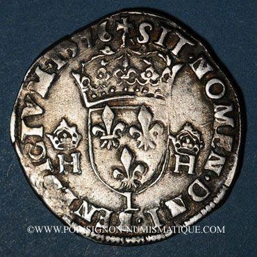 Münzen Henri III (1575-1589). Teston au col fraisé 1576L. Bayonne. Inédit avec cette légende fautive !