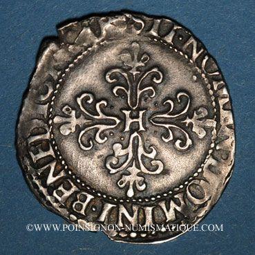 Münzen Monnayage de la Ligue au nom de Henri III (1589-1596). 1/4 franc au col plat 1591M. Toulouse