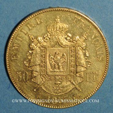 Münzen 2e empire (1852-1870). 50 francs Napoléon III tête nue 1857A. (PTL 900/1000. 16,12 g)