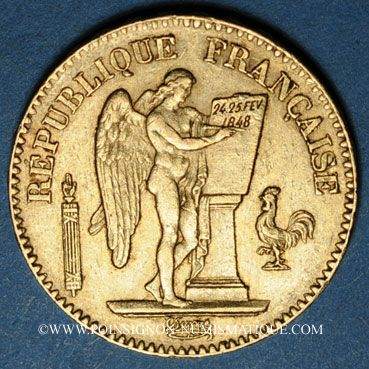 Französische Moderne Gold Münzen 2e République 1848 1852 20