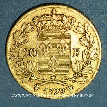 Münzen Charles X (1824-1830). 20 francs 1829 W. Lille. (PTL 900‰. 6,45 g). 5 496 ex.!