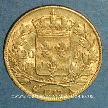 Münzen Louis XVIII (1815-1824). 20 francs buste nu 1817A. (PTL 900‰. 6,45 g)