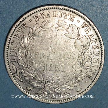 Münzen 2e république (1848-1852). 5 francs Cérès 1851 A