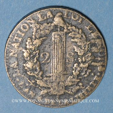 Münzen Constitution (1791-1792). 2 sols 1792B. Rouen. Type FRANCOIS