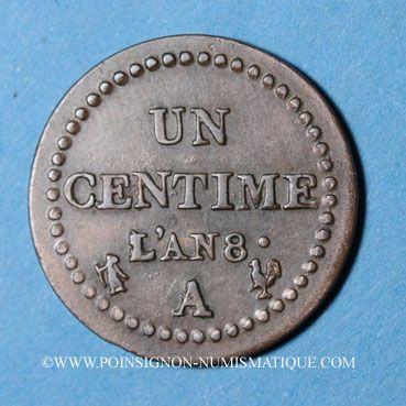 Münzen Consulat (1799-1804). 1 centime an 8A