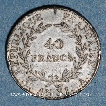 Münzen Consulat (1799-1804). 40 francs an XI A. Etain. Non signé. Inédit !
