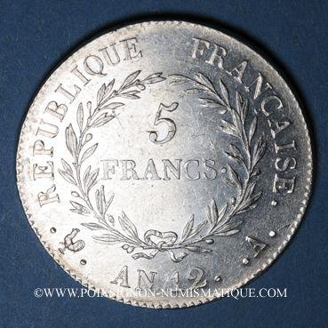 Münzen Consulat (1799-1804). 5 francs 1er Consul an 12A