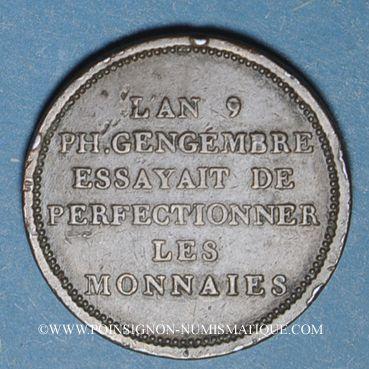 Münzen Consulat (1799-1804). Essai de Gengembre à l'effigie de Lavoisier, gravé par Andrieux, an 9