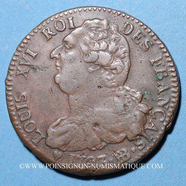 Münzen Convention (1792-1795), 2 sols constitutionnel 1793BB, an 5 Strasbourg. Type FRANCAIS, cuivre