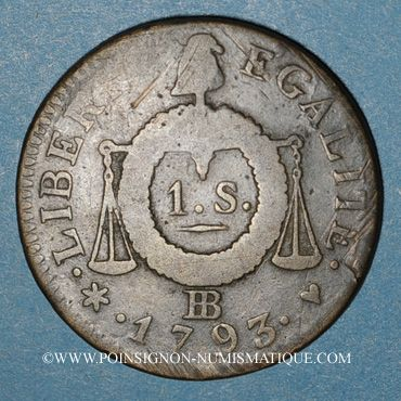 Münzen Convention (1792-1795). Sol aux balances 1793BB. Strasbourg. Métal de cloche.