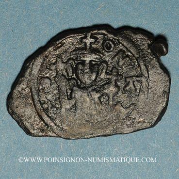 Münzen Syrie. Monnayage pseudo-byzantin (638-c.670). Follis, figure impériale tenant une longue croix