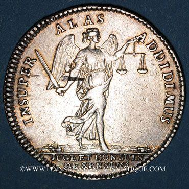 Münzen Champagne. Ville de Sens. Jeton argent 1766. Buste de Louis XVI à droite