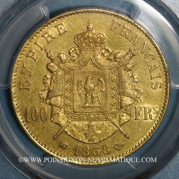 Münzen 2e empire (1852-1870). 100 francs, Napoléon III, tête laurée 1868BB. 900 /1000. 32,25 gr. 1982 ex !