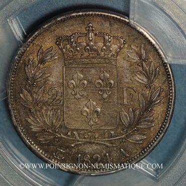 Münzen Louis XVIII (1815-1824). 2 francs 1824A