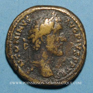 Münzen Antonin le Pieux (138-161). Sesterce. Rome, 146. R/: Antonin dans un quadrige