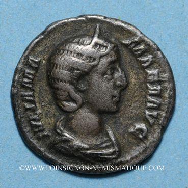 Münzen Julia Mamée, mère d'Alexandre Sévère († 235). Denier. Rome, 226. R/: Vesta voilée debout à g.
