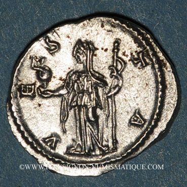 Münzen Julia Mamée, mère d'Alexandre Sévère († 235). Denier. Rome, 226. R/: Vesta