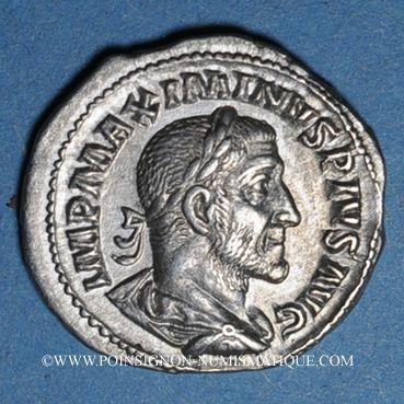 Münzen Maximin I Thrax (235-238). Denier. Rome, 236. R/: Maximin en habit militaire debout à gauche