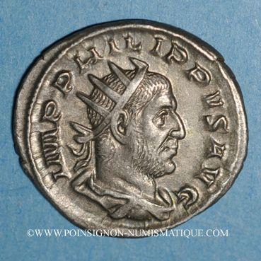 Münzen Philippe I (244-249). Antoninien. Rome, 5e officine, 248. R/: cerf