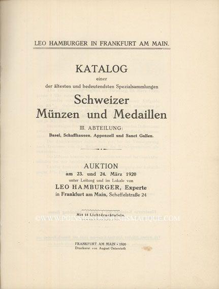 Second hand books Hamburger L., Francfort, vente aux enchères 23-24.03.1920. Schweizer Münzen, Slg.  Bachhofen III