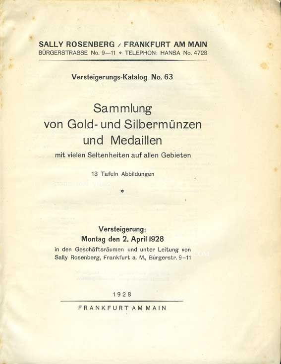 Second hand books Rosenberg Sally. Auktions Katalog n° 63 du 2.4.1928