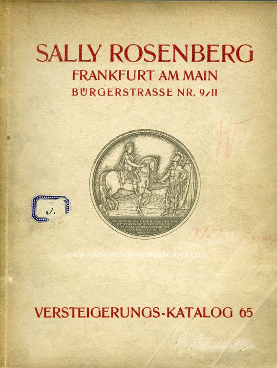 Second hand books Rosenberg Sally. Auktions Katalog n° 65 du 12.11.1928