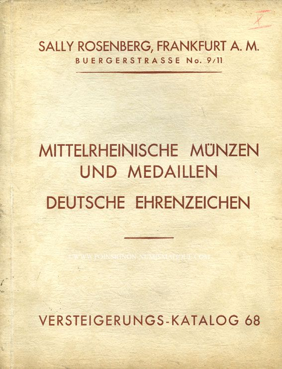 Second hand books Rosenberg Sally. Auktions Katalog n° 68 du 25.11.1929