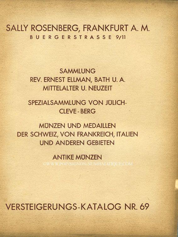 Second hand books Rosenberg Sally. Auktions Katalog n° 69 du 02.12.1930