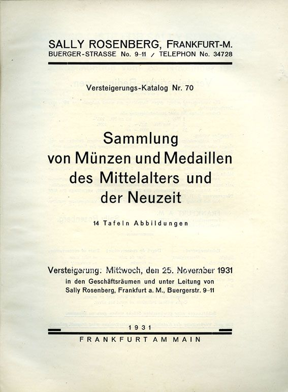 Second hand books Rosenberg Sally. Auktions Katalog n° 70 du 25.11.1931