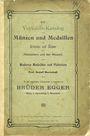 Antiquarischen buchern Egger B., Vienne. Vente n° 14. Verkaufs-Katalog von Münzen und Medaillen der Griechen und Römer ...