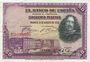 Banknoten Espagne. Banque d'Espagne. Billet. 50 pesetas 15.8.1928