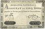Banknoten Assignat. 5 livres. 1 novembre 1791. Signature : Corsel
