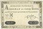 Banknoten Assignat. 5 livres. 28 septembre 1791. Signature : Corsel