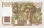 Banknoten Banque de France. Billet. 100 francs jeune paysan, 2.10.1952