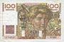 Banknoten Banque de France. Billet. 100 francs jeune paysan. 4.9.1952