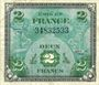 Banknoten Billet. 2 francs, Drapeau, type américain, 1944, sans n° série