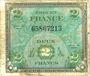 Banknoten Billet. 2 francs, Drapeau, type américain, 1944