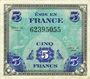 Banknoten Billet. 5 francs. Drapeau, type américain, 1944, sans n° série