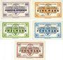 Banknoten Allemagne. Döbeln. Offizier- Gefangenenlager. Billets. 50 pf, 1 mk, 2 mk, 5 mk, 10 mk 1.12.1917