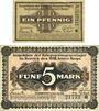 Banknoten Allemagne. Frankfurt. Inspektion der KGL im Bereich des XIII. Armeekorps Billets 1 pf, 5 mk 1.6.1917
