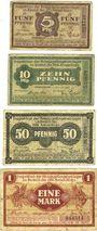 Banknoten Allemagne Frankfurt Inspektion der KGL im Bereich des XVIII. Armeekorps. Billets. 5, 10, 50 pf, 1 mk