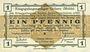 Banknoten Allemagne. Golzern. Kriegsgefangenenlager. Billet. 1 pfennig 1.2.1916, sans cachet