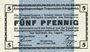 Banknoten Allemagne. Königsbrück. Kriegsgefangenenlager - Truppenplatz Königsbrück. Billet. 5 pf 1.10.1915