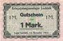 Banknoten Allemagne. Lechfeld. Kriegsgefangenenlager. Billet. 10 mk 15.11.1915. Signature imprimée en noir/dos