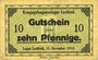 Banknoten Allemagne. Lechfeld. Kriegsgefangenenlager. Billet. 10 pf 15.11.1915, Signature imprimée en noir/dos
