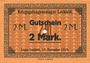 Banknoten Allemagne. Lechfeld. Kriegsgefangenenlager. Billet. 2 mk 15.11.1915. Signature imprimée en noir /dos