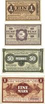 Banknoten Allemagne. Quedlinburg. Mannschafts-Gefangenenlager. Billets. 1, 5, 50 pfennig, 1 mark déc 1916