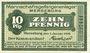 Banknoten Bruckdorf. Bergwerk Alwiner Verein. Billet. 10 pf 1.1.1916, cachet au dos d'un billet ... Merseburg