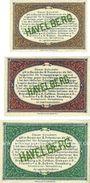 Banknoten Havelberg. Inspektion der KGL im Bereich des XIII. Armeekorps. Billets. 1, 10, 25 pf 1.10.1917